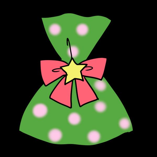 緑のラッピングのプレゼントのイラスト かわいいフリー素材が無料の