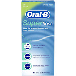 Oral-B Super Floss Dental Floss, Pre-Cut Strands, Mint - 50 count