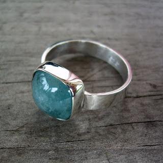 cloudy aquamarine ring
