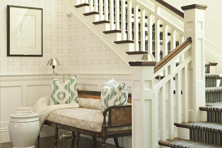 Suzie: Thornton Designs - Ivory & seafoam green foyer design with white & green pillows, cane ...