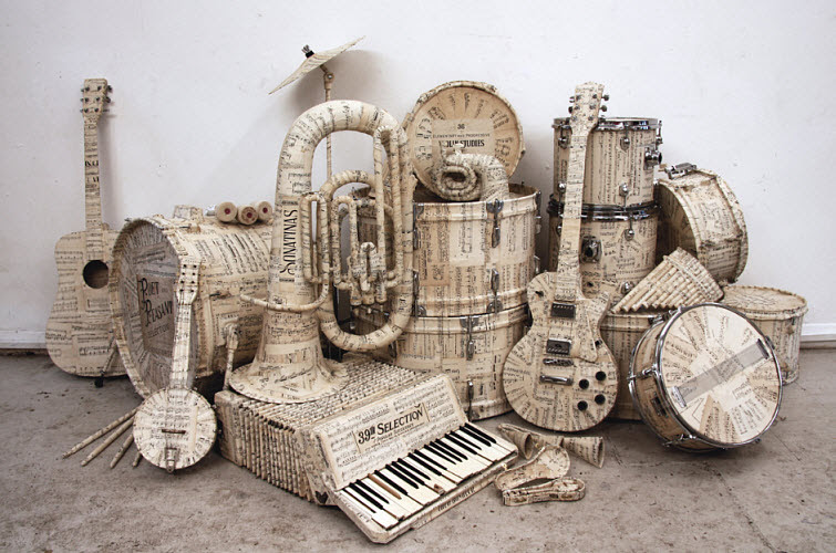 Kyle Bean: Musical Manuscript Instrumental Paper Sculpture
