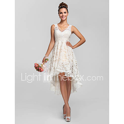 [BRL R$ 243,49] A-line/Princess V-neck Asymmetrical Lace Bridesmaid Dress