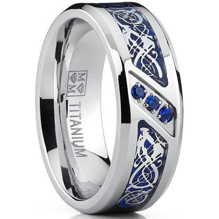 Titanium Wedding Ring Band with Dragon Design Over Blue