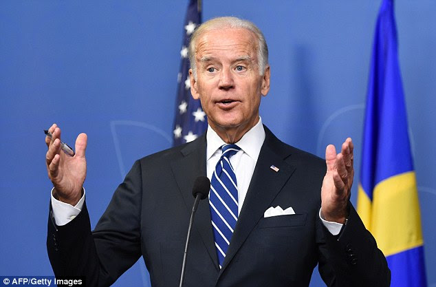 Intervention: Joe Biden, who was speaking in Stockholm, Sweden, at a joint press conference with the country's prime minister, made the unexpected announcement