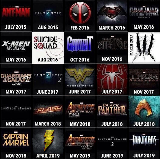 Marvel & DC Superhero Movie Chart for the Next 4 Years