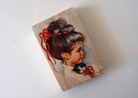 Vintage Medeiros Sugar Bon Playing Cards, Little Girl With Kitten, Messy Bun, Red Ribbon