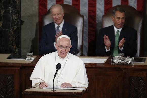 El Papa Francisco se dirige al Congreso en el Capitolio en Washington. Foto: AP/Carolyn Kaster