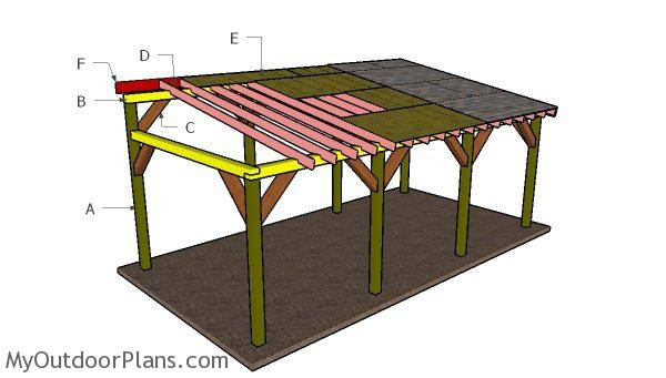 12x24 Lean to Carport Roof Plans | MyOutdoorPlans | Free ...