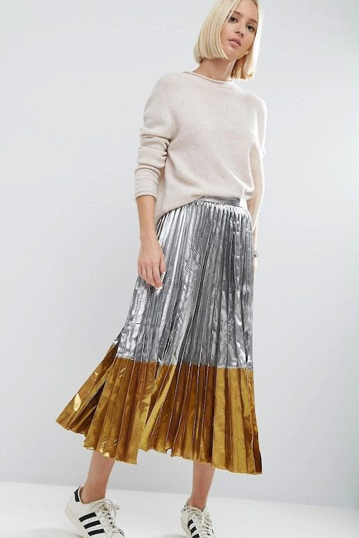 Le Fashion Blog Fall Style Blonde Short Hair Under 100 Budget Tan Sweater Tucked Into Two Tone Metallic Pleated Skirt Adidas Sneakers Via ASOS