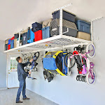 """SafeRacks Overhead Garage Storage Combo Kit   Two 4'x8' Racks   18pc Deluxe Hook Accessory Pack, 18""""-33"""", White"""