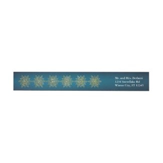 Elegant Golden Snowflakes Holiday Wrap Around Wraparound Return Address Label