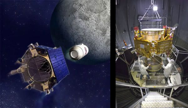 LEFT PIC: Artist's concept of LCROSS at the Moon.  RIGHT PIC: LCROSS undergoing tests inside a thermal vacuum chamber.