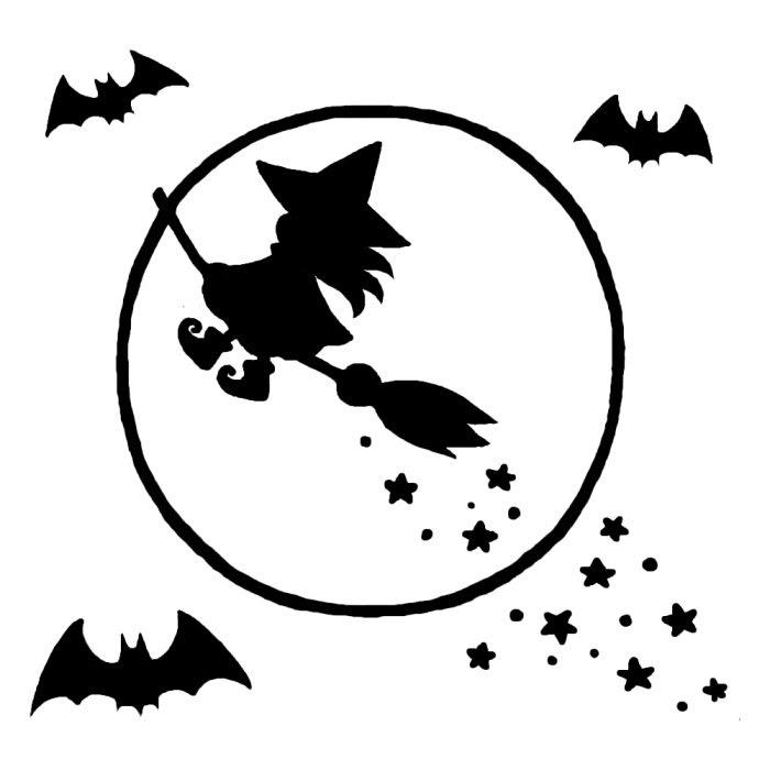 月夜のウィッチ白黒ハロウィンの無料イラスト秋の季節行事素材