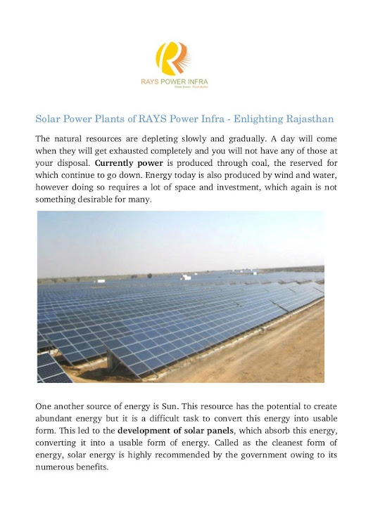 Solar Power Plants Of Rays Power Infra