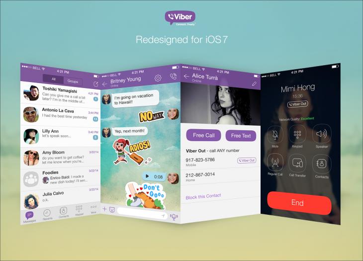VIBER IOS 7 فايبر على الآيفون بتصميم مسطح ويتيح حظر المستخدمين