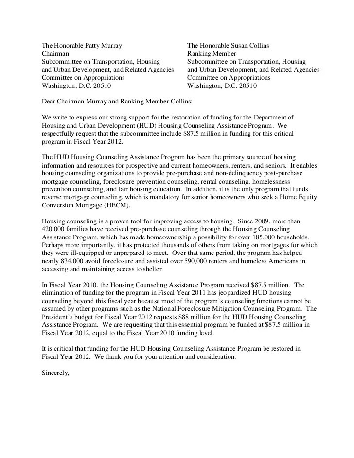 Hud housing counseling fy2012 funding draft letter