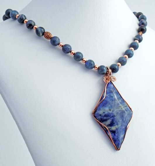 Dumortierite Copper Handmade Designer Pendant Necklace