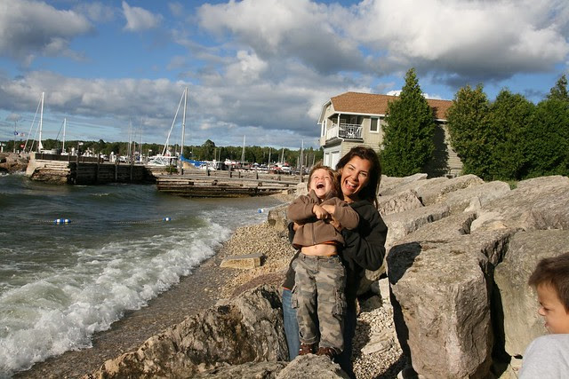 mommy and oliver, sister bay, labor day weekend 2010