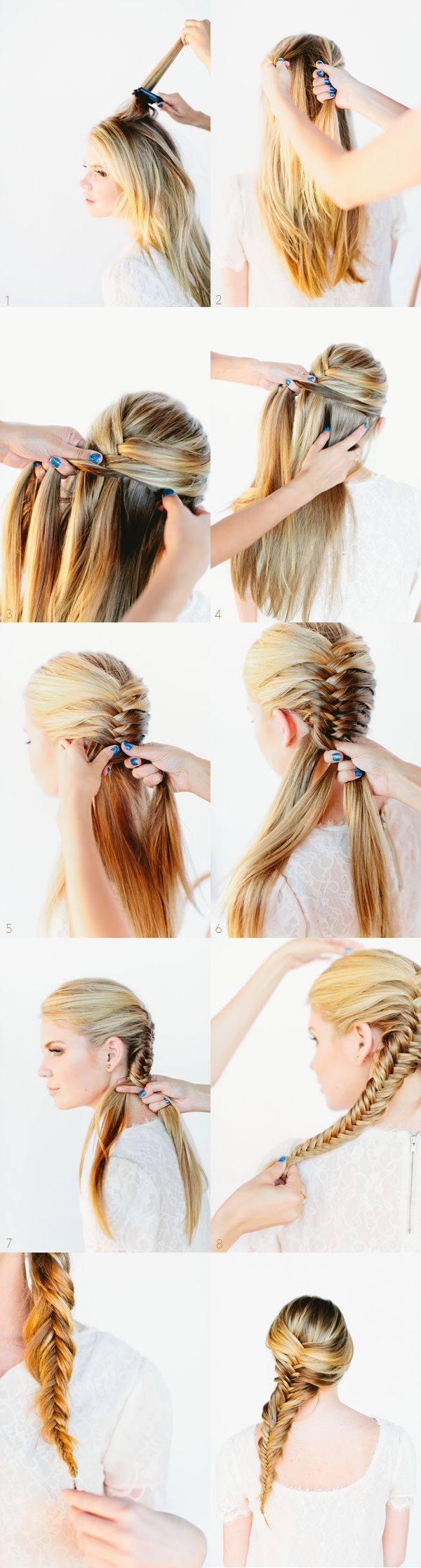 Fishtail Braid Hair Tutorial  Haven't seen the fishtail braid started this one way before. Interesting.