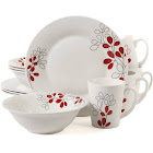 Gibson Home Scarlet Leaves 12-Piece Dinnerware Set, White