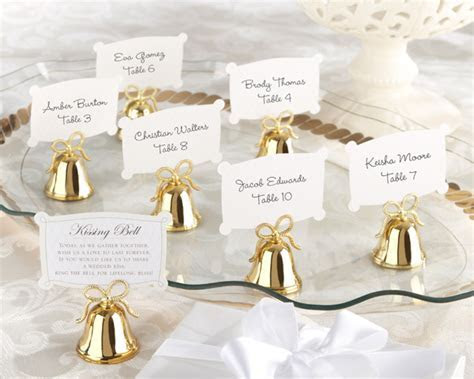 Gold Bell Place Card Holder   Kissing Bells   My Wedding