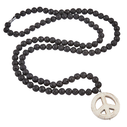 Black Lava Chunky Beaded Hippy Peace Pendant