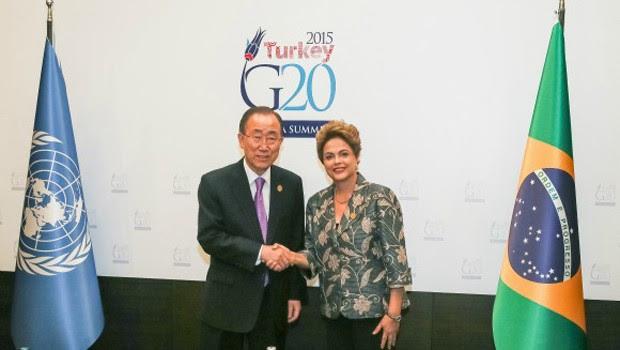 A presidente Dilma Rousseff durante encontro com o secretário-geral das Nações Unidas, Ban Ki-moon (Foto: Roberto Stuckert Filho/Presidência da República)