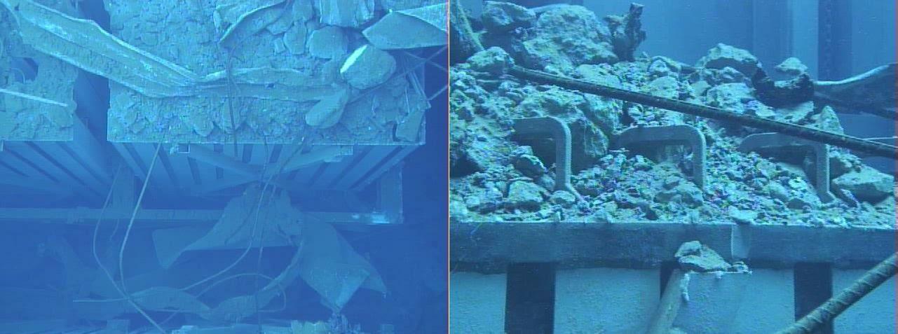 Fig. 53 : Paniers de combustible (à gauche) et crochets des assemblages de combustible (à droite) de la piscine du BR3