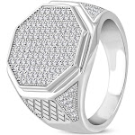 925 Sterling Silver White Clear CZ Large Statement Cocktail Mens Ring Band