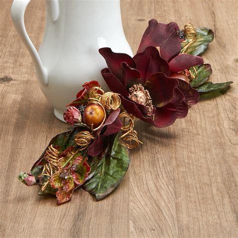 Burgundy Artificial Magnolia and Fruit Swag   Garlands