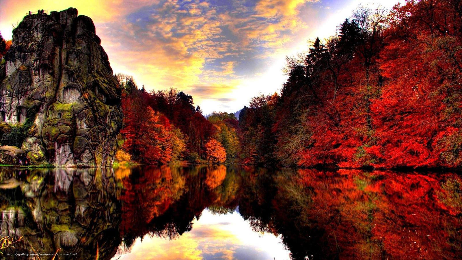 Tlcharger Fond Decran Nature Automne Rocks Rouge Fonds D