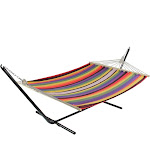 "Northlight 77"" Multi-colored Striped Woven Cotton Double Hammock with Wooden Bars"