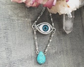 Eye choker necklace with natural Turquoise crystal drop bead silver chain eye pendant boho gothic hippie bohemian summer style gipsy