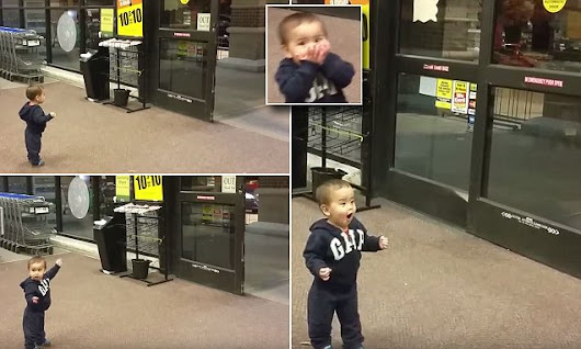 Cute toddler amazed by seeing automatic doors work for the first time