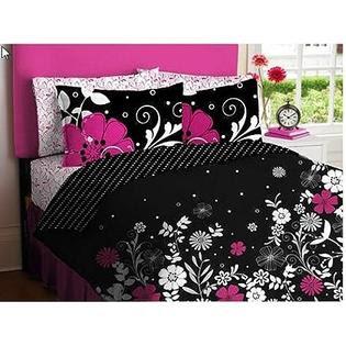Black White Polka Dots Girls Full Comforter Set 8 Piece Bed In Bag ...