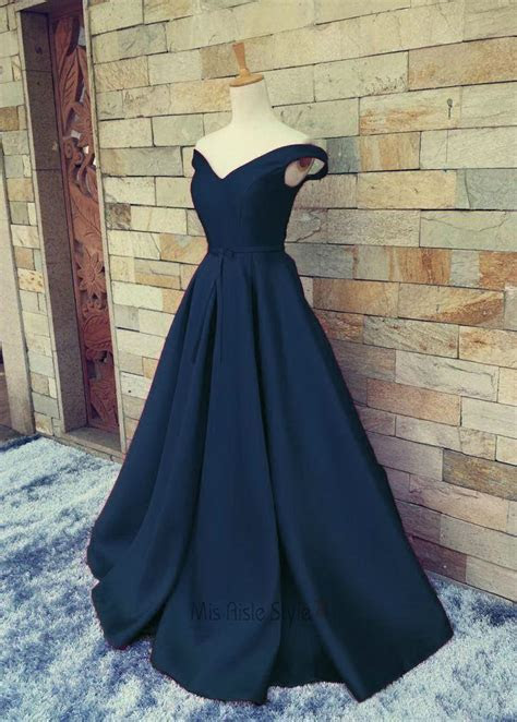 Sexy Off Shoulder Sleeves Navy Blue Prom Dress