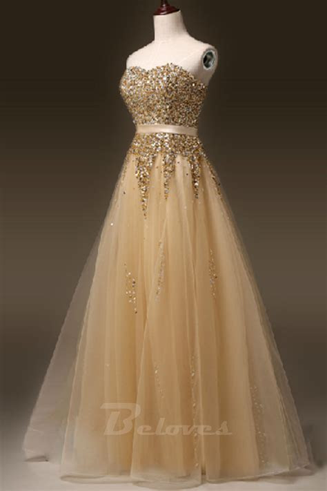 gold tulle sweetheart beaded   formal prom dress