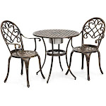Best Choice Products 3-Piece Cast Aluminum Patio Bistro Table Set with Attached Ice Bucket, Copper
