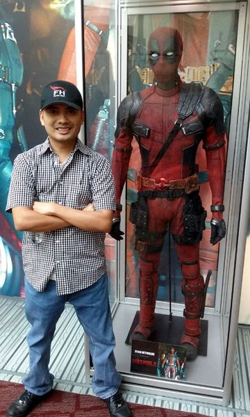 Posing with the DEADPOOL costume at ArcLight Cinemas in Hollywood...on May 29, 2018.