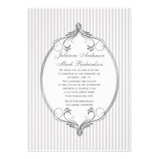 Ornate Silver Frame Light Gray Stripes Wedding