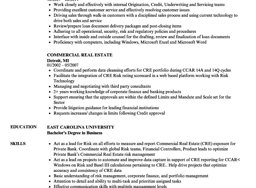 commercial real estate resume examples
