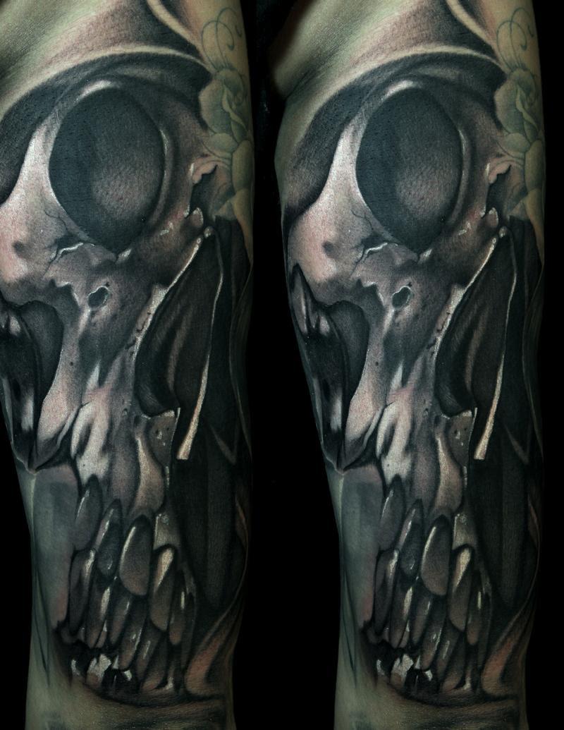 Art Junkies Tattoo Studio Tattoos Skull Black And Gray Skull