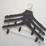 Closet Spice Rubber Felt Wood Suit Hangers with Clips - Set of 6 (Gray)