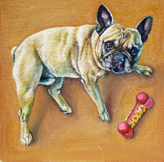 "Saatchi Art Artist: Sally Brennan; Oil 2014 Painting ""french bulldog"""