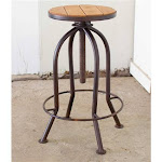Adjustable Industrial Rust Finish Bar Stool with Recycled Wood