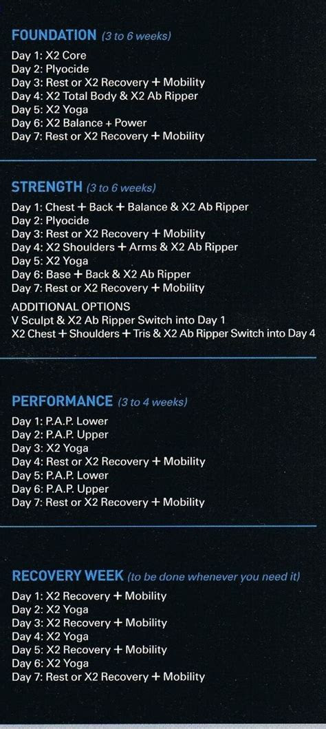 px workout schedule calories burned exercise