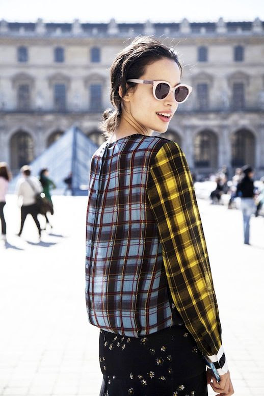 Le Fashion Blog Street Style Mixed Prints Look Pfw Pastel Sunglasses Contrasting Tartans Striped Sleeves Micro Floral Print Via The Outfit