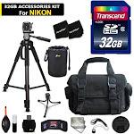 32GB Accessory Kit for Nikon DL24-85, DL18-50, DL24-500, D810a, D610, D800, D...