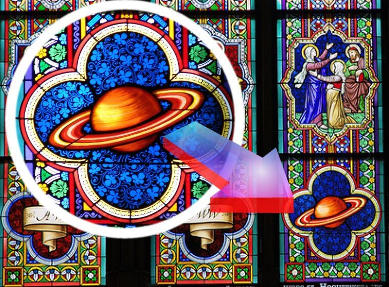 The Cologne Cathedral in Innenstadt, Cologne, Germany clearly shows Saturn on their stained glass window: