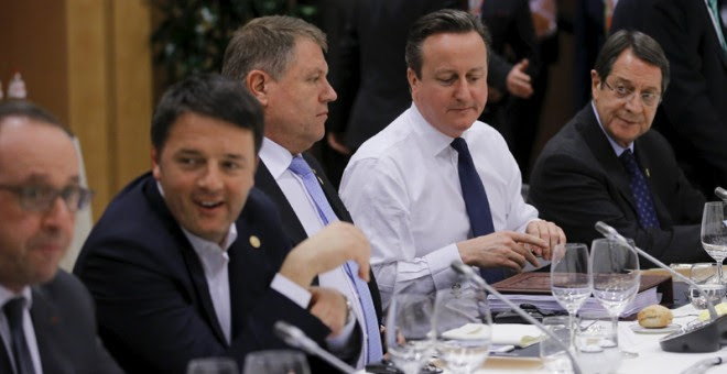 Cameron, en la cen de los jefes de Estado y de Gobierno de la Unión Europea, en Bruselas. / REUTERS